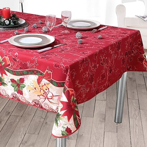 Stain Resistant Tablecloth - Christmas Red