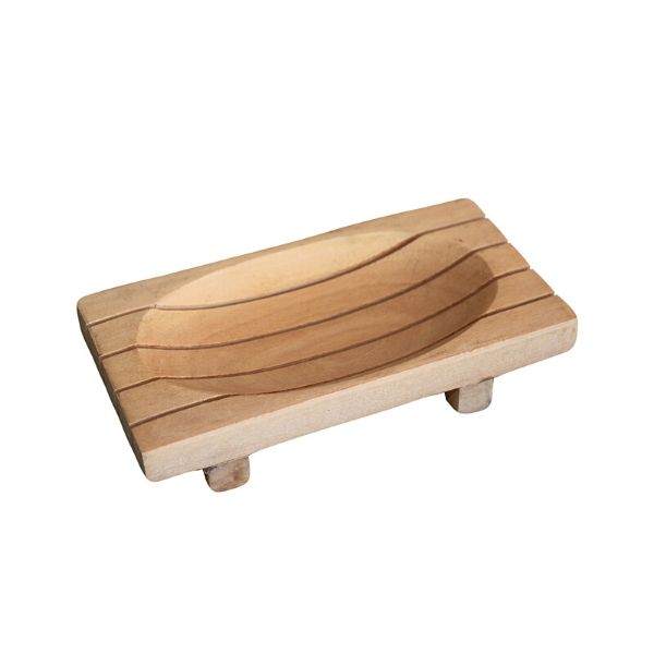 Mahogany Wood Soap Dish - Grid Drainer