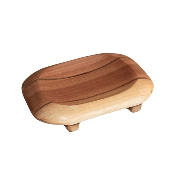 Mahogany Wood Soap Dish - Oval in Rectangle