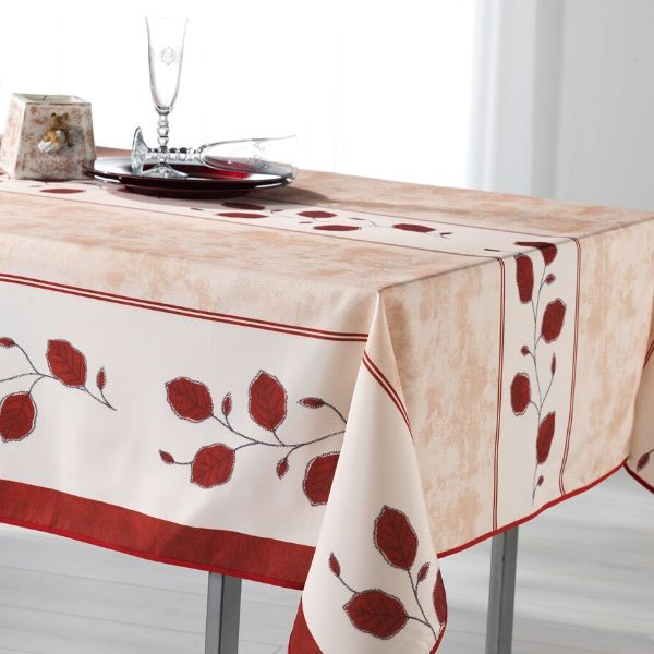 Stain Resistant Tablecloth - Feuilles Rouges