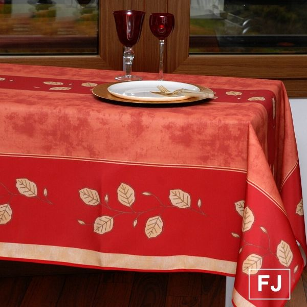 Stain Resistant Tablecloth - Feuilles Oranges
