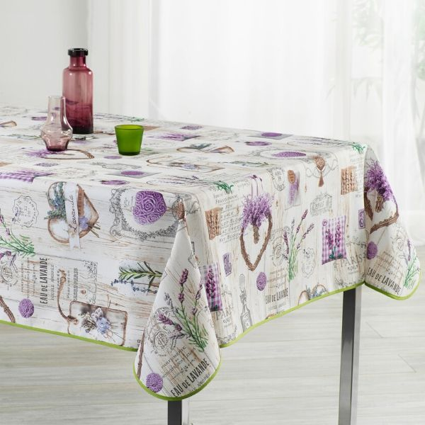 Stain Resistant Tablecloth - Coeurs Mauves