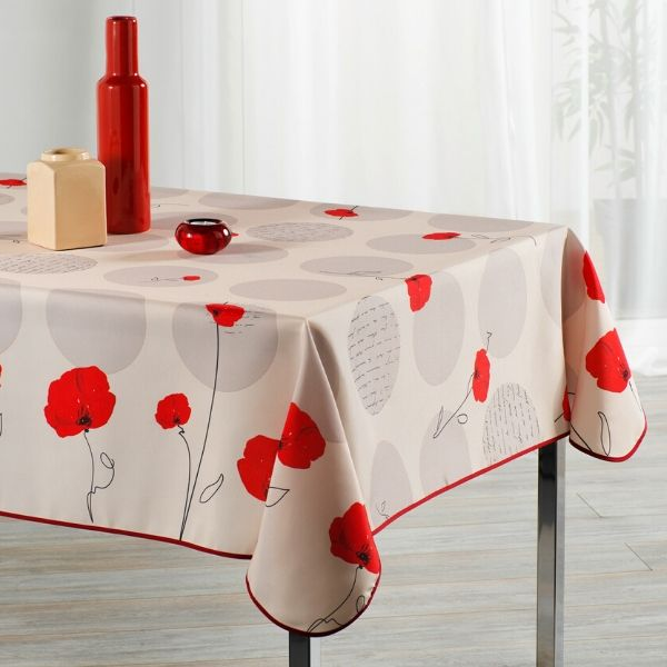 Stain Resistant Tablecloth - Coquelicot