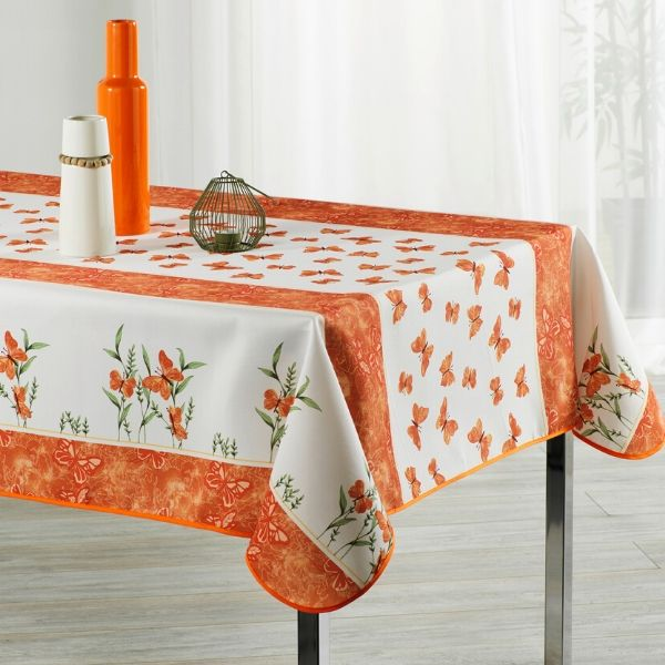 Stain Resistant Tablecloth - Papillon Orange